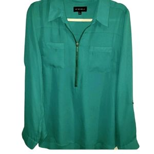 My Michelle Green 1/2 Zip Collared Blouse